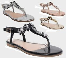 Womens Flat Heel Diamante Flower Toe Post Thong Flip Flop Summer Party Sandals