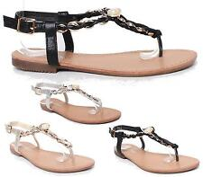 Womens Flat Low Heel Gold Chain Toe Post Thong Flip Flop Summer Party Sandals