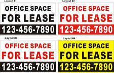 3ftX5ft Custom Printed OFFICE SPACE FOR LEASE Banner Sign with Your Phone Number