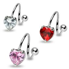 Surgical Steel Twister Belly Bar / Navel Ring With Prong Set CZ Heart