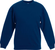 Fruit Of The Loom Youths Set In Sweat Rib Crew Neck Pull Over Kids Jumper Shirt