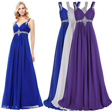 Sexy Blue Chiffon Long Formal Evening Dress Celebrity Bridesmaid Party Prom Gown
