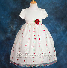 Ivory Embroidery Wedding Flower Girls Dresses Pageant Party All Size 2T-10 FG152