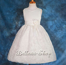 Satin Embroidery Dress Wedding Flower Girl Pageant Occasion Size 1-9 Year FG150