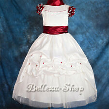 50% OFF Pearls Satin Wedding Flower Girl Dress & Shawl Pageant Party 18M-10 #177