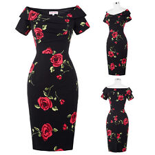 Vintage 50S 60S Bodycon Off Shoulder Cocktail EVENING Party Wiggle Pencil Dress