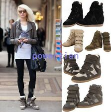 Womens Hidden Wedge Heels New Fashion New Sneakers High Top Boots Sport 5-9
