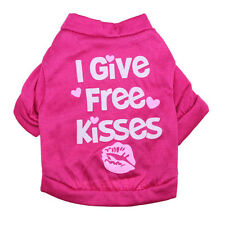 Dog Summer T shirt Free Kiss Printed Cotton Pink Casual Clothes for Small Pet