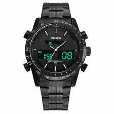 OHSEN Black Analog Digital Dual Time Mens Quartz Steel Waterproof Wrist Watch
