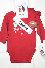 NEW 2-pc Pittsburgh Steelers Baby's 1st Christmas RED Onesie, Hat, RETAIL $20