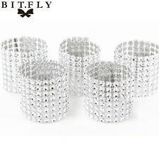 Silver/Gold 100pcs Diamond Mesh Wrap 8 Rows Wedding Chair Sash Napkin Rings