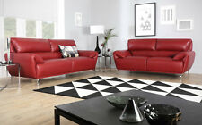 ENZO Red Leather Sofa Sofas Couch Settee