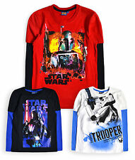 Boys Star Wars T-Shirt New Kids Tops Long Sleeved Cotton Vader Tee Ages 6-12 Yrs