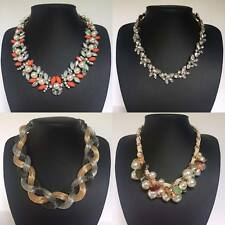 Silver Gold Multi-Coloured Chunky Plait Floral Pearl Cluster Statement Necklaces