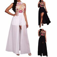 Women Sleeveless Flower Embroidery Chiffon Jumpsuit Romper Party Maxi Dress