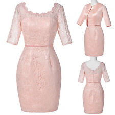 Free Jacket Vintage Formal Lace Mother Of The Bride Wedding Guest Dress Pink 18