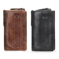 Genuine Leather Car Key Case Holder Zippered Key Coin Bill Wallet Black Brown