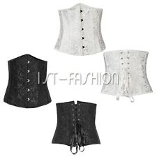 Punk Women Boned Waist Training Corset underbust Lace Up Bustier Shaper G-String