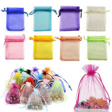 100pcs 7x9cm Organza Sheer Wedding Party Favour Gift Bags Candy Jewellery Pouch