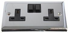 Polished Chrome Wall Socket Crabtree 2 Plug Sockets 13AMP Easy Install