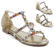 WOMENS LADIES CHAIN LINK JEWEL SUMMER FLAT FASHION GLADIATOR SHOES SANDALS SIZE