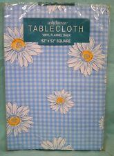 U PICK Vinyl Tablecloth SQUARE Oblong Table Cover Flannel Back BLUE DAISY Flower