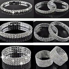 Bling Silver Wedding Bridal Crystal Diamante Rhinestone Stretch Bracelet Bangle