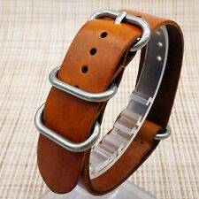 18/20/22mm Black Brown Mens Genuine Leather Army Military Watch Strap Band