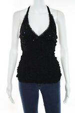 Ann Ferriday Black Lace Sequinned Tie Neck Halter Top Size One Size New