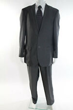 Caravelli Mens Gray Textured Two Button Blazer Pleated Front Pants Suit Size 38