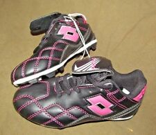 NEW Cute Youth Girls BLACK with HOT PINK stitching Soccer Cleats, LOTTO, size 12