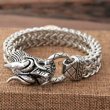 Large Stainless Steel Silver Chinese Dragon Franco Chain Link Bracelet+Gift Box