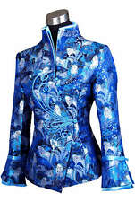Charming Chinese Women's silk jacket /coat Blue Sz:8 10 12 14 16