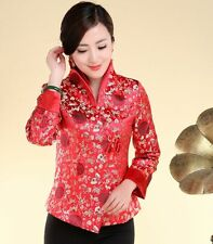 Charming Chinese Women's silk jacket/coat Cheongsam Red Sz: 8 10 12 14 16 18