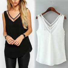Ladies Chiffon V-Neck Vest Top Loose Sleeveless Tank Tops T-Shirt Blouse Shirts