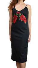 Womens Embroidered Dress Floral Rose Black Ladies Fashion UK New