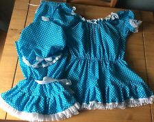 Fancy dress Victorian swim costume,bright blue spotty bloomers, top and mopp cap
