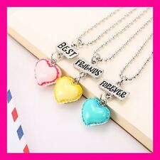 3pc BFF Macaroon French Cookie Best Friends Forever Silver Plated Necklaces USA