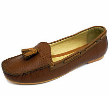 LADIES RAVEL ELOY FLAT LEATHER BROWN SLIP-ON MOCCASIN LOAFERS SHOES SIZES 3-8