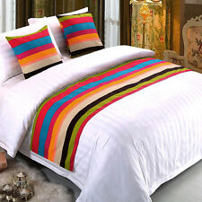 Pop Bed Runner Rainbow Striped Hotel Home Bed Flag Cloth Pillow Cover Decoration
