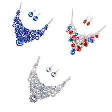 Wedding Bridal Jewelry Set Bridesmaid Crystal Rhinestone Necklace Earrings Gifts
