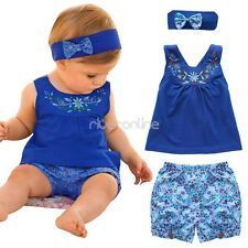 3PCS Toddler Baby Girls Summer Causal Outfits Floral Top Shorts Headband Set