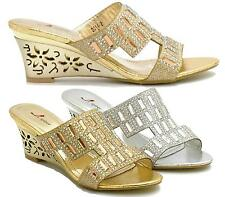 LADIES GOLD SILVER MID HEEL WEDGE BRIDAL WEDDING EVENING PARTY PROM SANDALS SHOE
