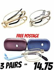 MT01 3 x PAIRS Folding Silver or Gold Metal Frame Reading Glasses Case & Cloth