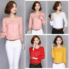 Women Loose Long Sleeve Button Down Blouse OL Office Lady Shirts Tops Casual Tee