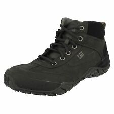 Mens Caterpillar Black Leather Lace Up Ankle Boot Remix Mid