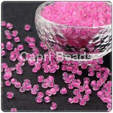 6/0 Glass Seed Beads - Clear, Pink Inner Lined - Approx 4mm 50g/75g/150g Packs