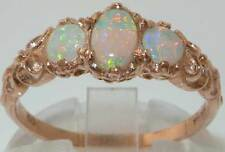 Ladies Solid 9ct Rose Gold Natural Fiery Opal English Victorian Style Ring