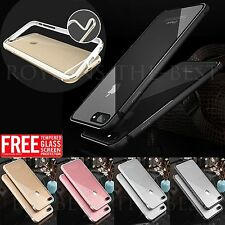 Aluminum alloy metal Gel Hybrid Bumper Clear Case For iPhone 6 7 Plus Free Glass