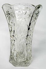 "Vintage Crystal Clear Glass Vase Criss Cross Star Pattern 8"" Excellent Condition"